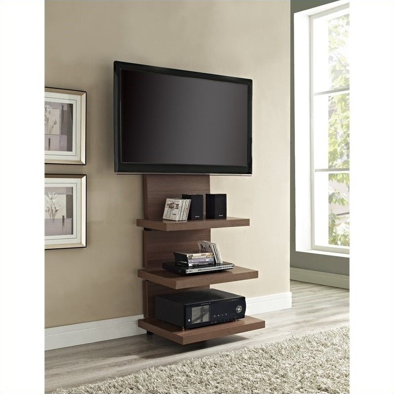Awesome Common Storage TV Stands Throughout Hollow Core Mount Tv Stand In Walnut  (Image 5 of 50)