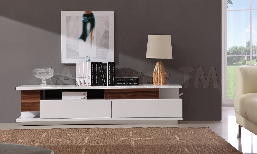 Awesome Common White High Gloss TV Stands With Regard To Modern Tv061 Tv Stand In White High Gloss Walnut Tv Stands (Image 12 of 50)