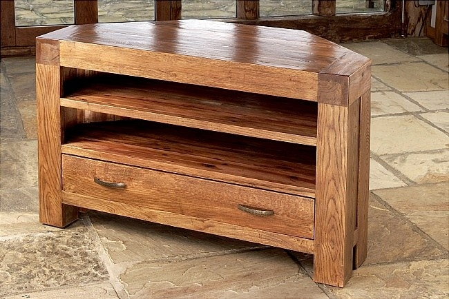 Awesome Common Wooden Corner TV Stands Intended For Corner Tv Stand Solid Wood Home Design Ideas (Image 1 of 50)