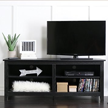 Awesome Common Wooden TV Stands Intended For Amazon We 58 Wood Tv Stand Storage Console Black Kitchen (Image 4 of 50)