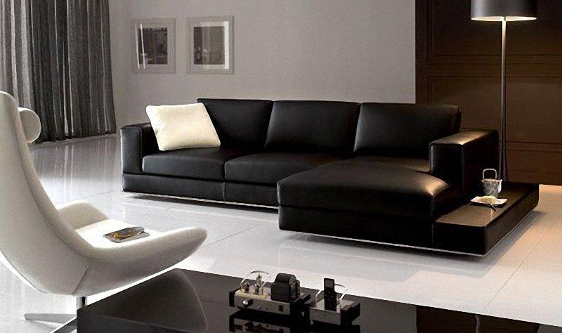 Awesome Contemporary Black Leather Sofa Contemporary Black Italian In Contemporary Black Leather Sofas (View 4 of 20)