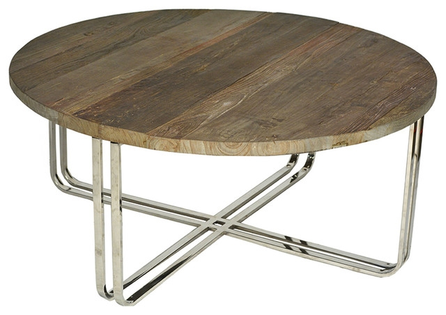 Awesome Deluxe Chrome And Wood Coffee Tables Intended For Round Wood Chrome Coffee Table Traditional Coffee Tables (Image 3 of 50)
