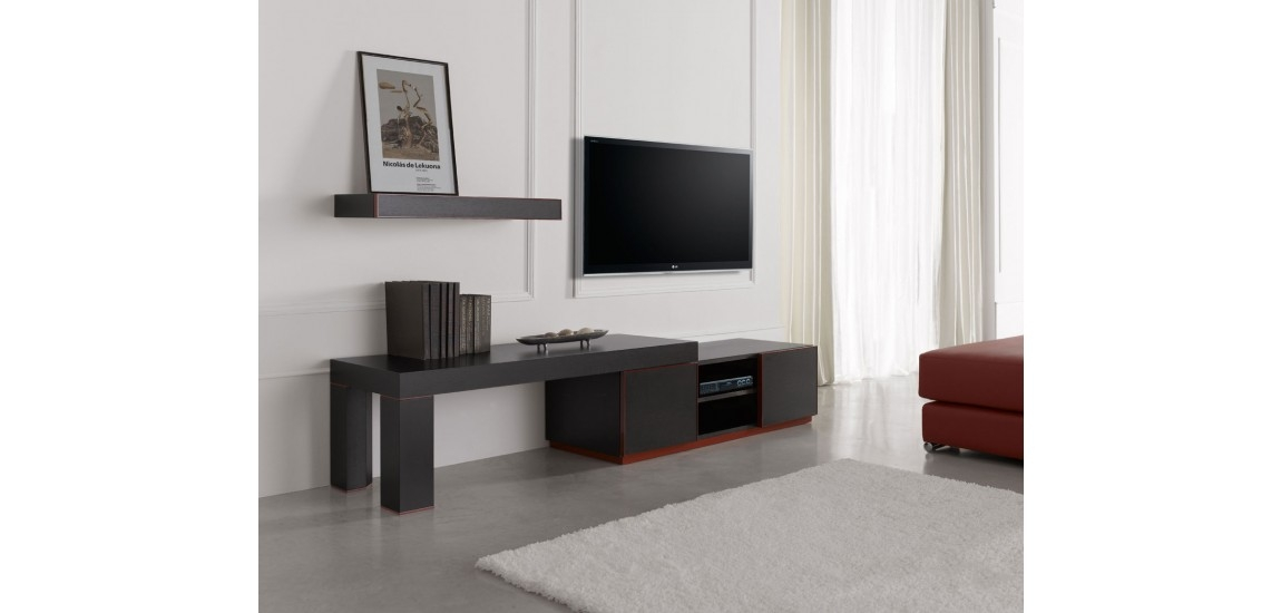 Awesome Deluxe Classy TV Stands Intended For Inessa Modern Long Tv Stand In Red And Black Finish (View 24 of 50)