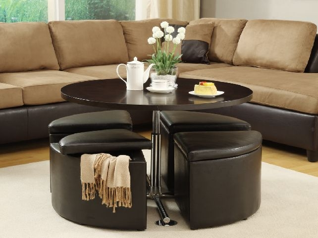 Awesome Deluxe Coffee Tables With Basket Storage Underneath With Regard To Great Coffee Table With Stools Underneath Design (Image 4 of 50)