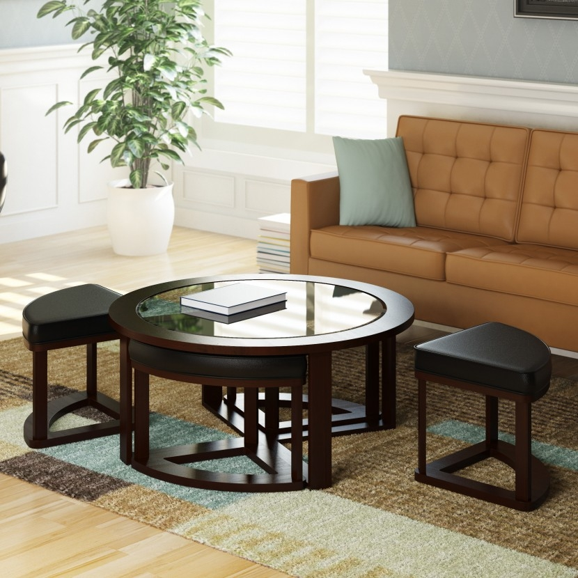 Awesome Deluxe Coffee Tables With Nesting Stools In Furniture Luxury Coffee Table With Stools For Living Room (Image 7 of 50)