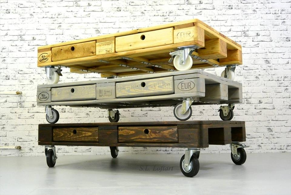 Awesome Deluxe Coffee Tables With Wheels Within Build Pallet Coffee Table On Wheels (View 32 of 40)