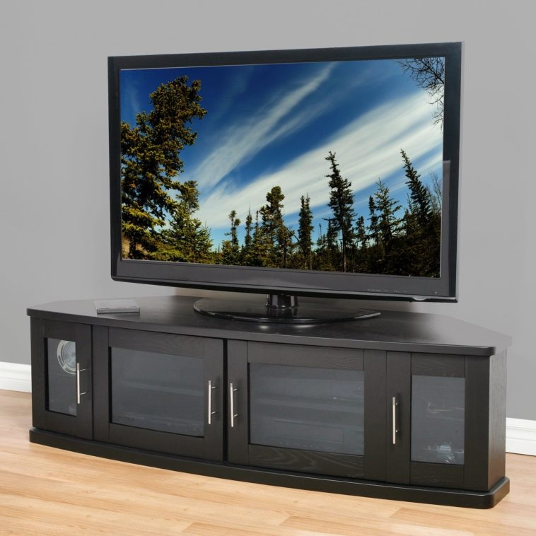 Awesome Deluxe Contemporary Corner TV Stands In Furniture Black Stain Wooden Media Cabinet With Tv Stand And (View 42 of 50)