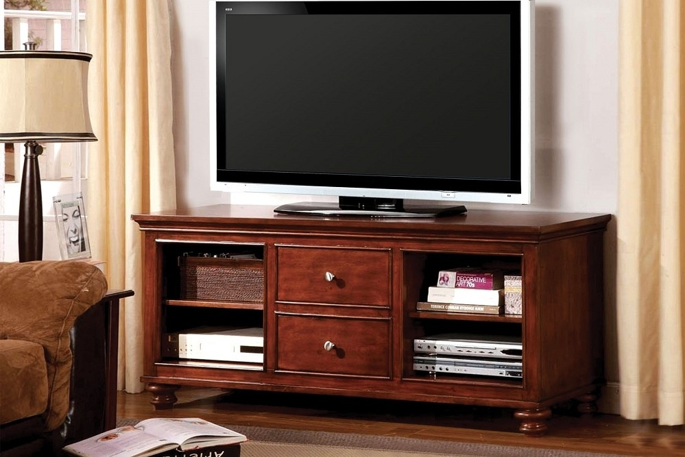 Awesome Deluxe Dark Wood TV Cabinets In Tv Stands Astonishing Tv Stand Cherry 2017 Design Cherry Wood Tv (Image 7 of 50)