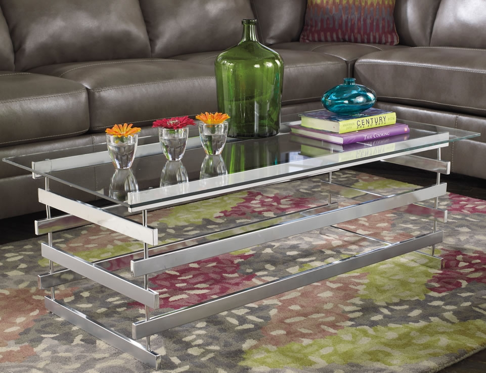 Awesome Deluxe Glass Chrome Coffee Tables Inside Coffee Table Astonishing Chrome And Glass Coffee Table In Your (Image 4 of 40)
