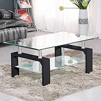 Awesome Deluxe Glass Coffee Tables In Amazon Virrea Rectangular Glass Coffee Table Shelf Wood (Image 4 of 50)