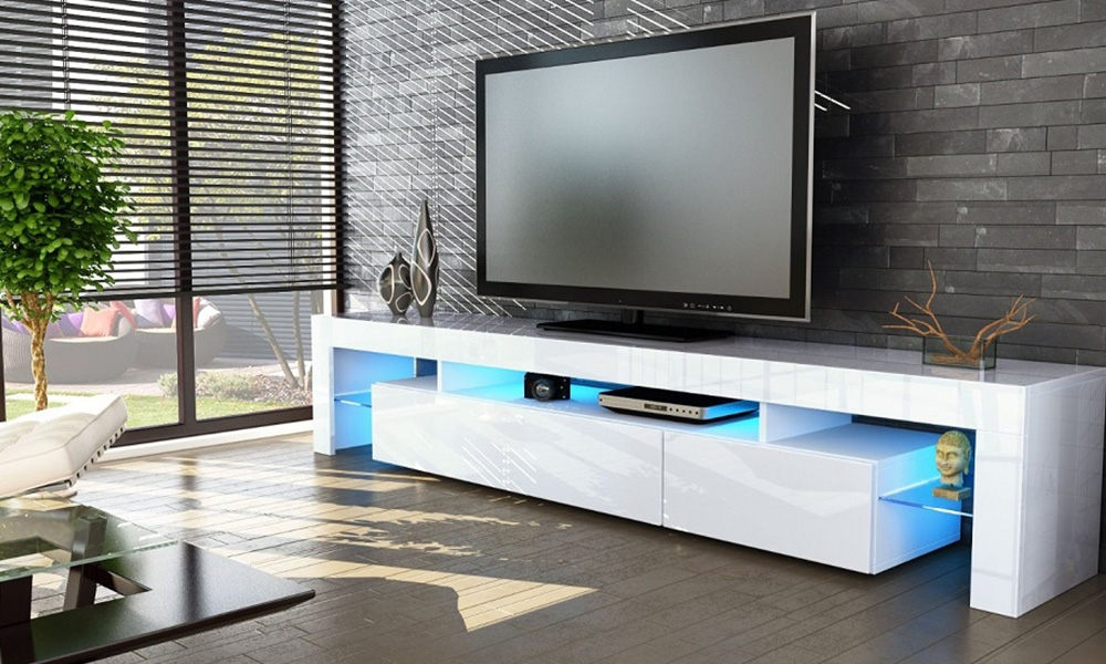 Awesome Deluxe High Gloss White TV Cabinets Regarding Tv Stands 10 Astounding Design Tv Stand With Mount Target (View 29 of 50)