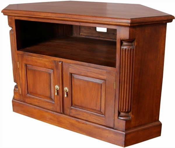 Awesome Deluxe Mahogany Corner TV Cabinets Within Solid Mahogany Pillar Corner Tv Unit Cbn062 Lock Stock Barrel (Image 4 of 50)