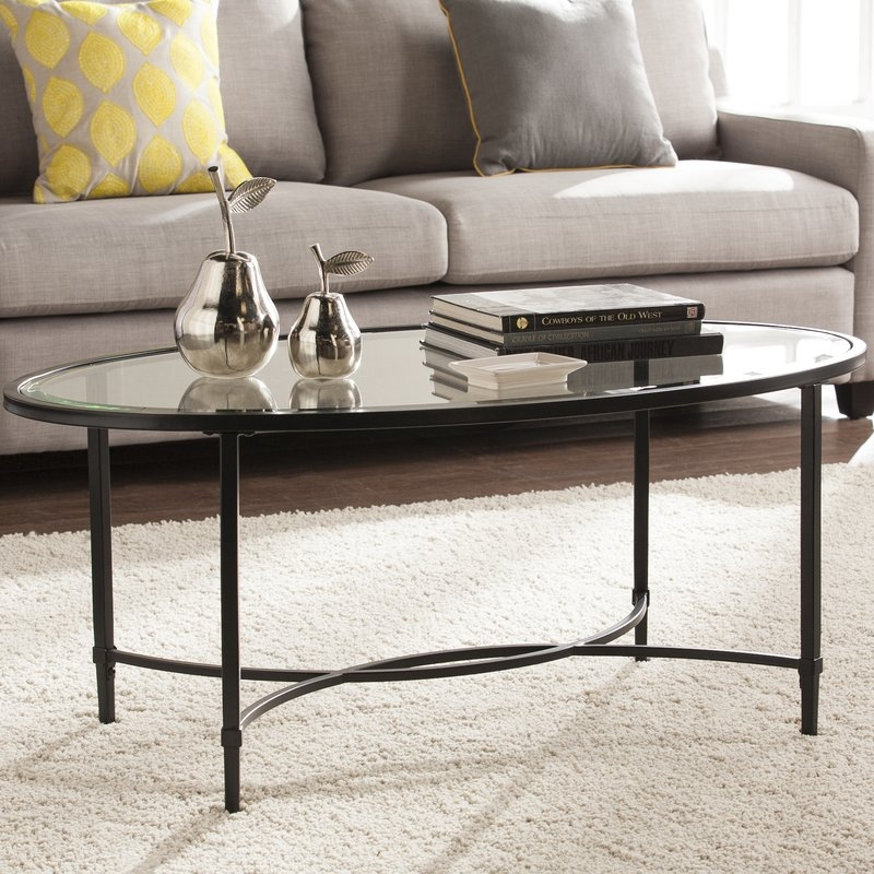 Awesome Deluxe Metal Glass Coffee Tables Pertaining To Charlton Home Sherrodsville Metalglass Coffee Table Reviews (Image 4 of 40)