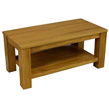Awesome Deluxe Oak Coffee Table With Shelf Intended For Solid Oak Coffee Table (Image 3 of 50)