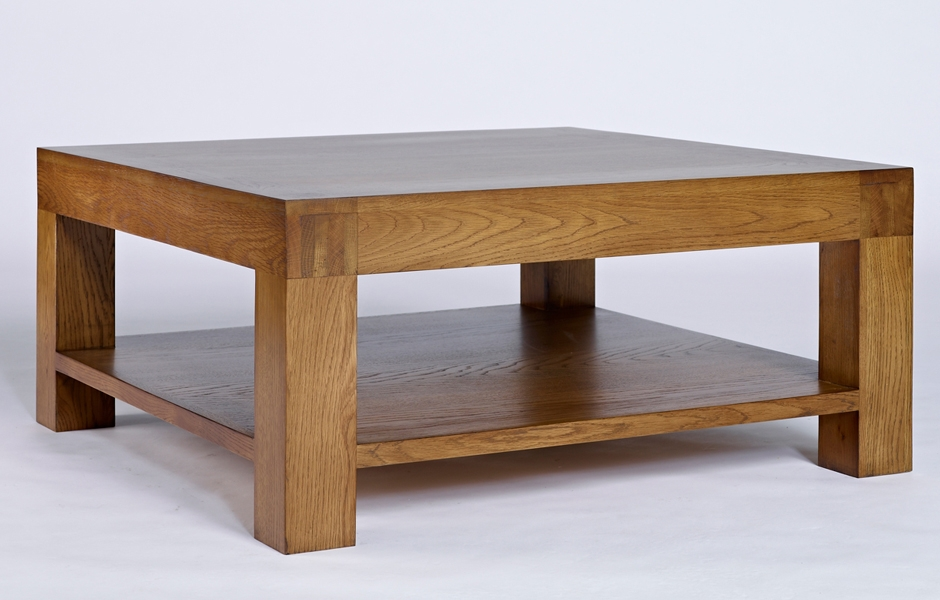 Awesome Deluxe Oak Coffee Table With Shelf Throughout Oak Coffee Table With Shelf Santana (View 2 of 50)