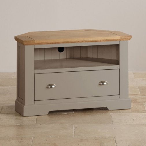 Awesome Deluxe Oak Corner TV Cabinets For St Ives Corner Tv Cabinet In Grey Painted Acacia With Oak Top (Image 2 of 50)