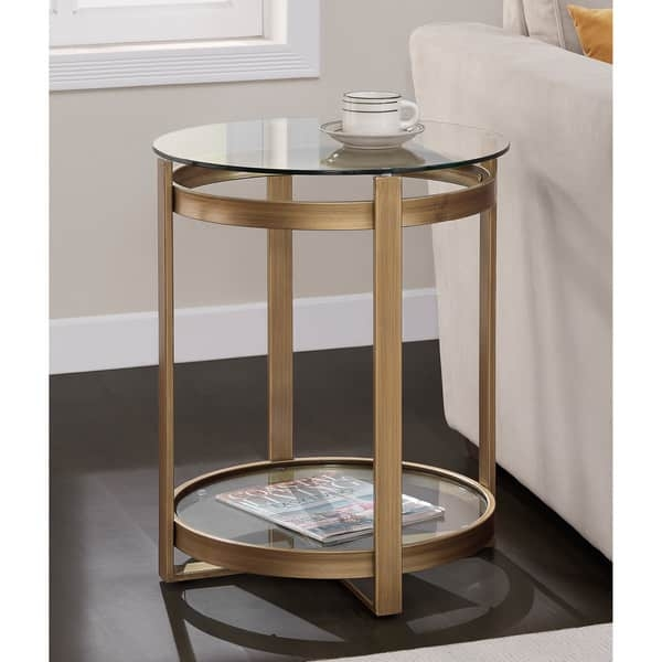Awesome Deluxe Retro Glitz Glass Coffee Tables Inside Retro Glitz Glass Metal End Table Free Shipping Today (Photo 3 of 50)