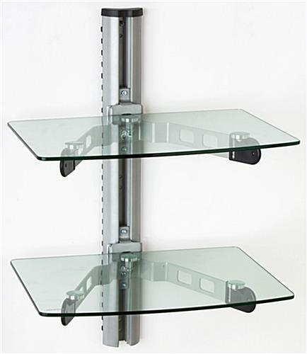 Awesome Deluxe Wall Mount Adjustable TV Stands With Regard To Wall Mounted Glass Shelves Av Component Stand (Image 6 of 50)