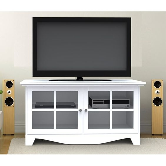Awesome Deluxe White Glass TV Stands With Oak Tv Stand With Glass Doors Un Varnish Teak Wood Media Cabinet (Photo 26 of 50)
