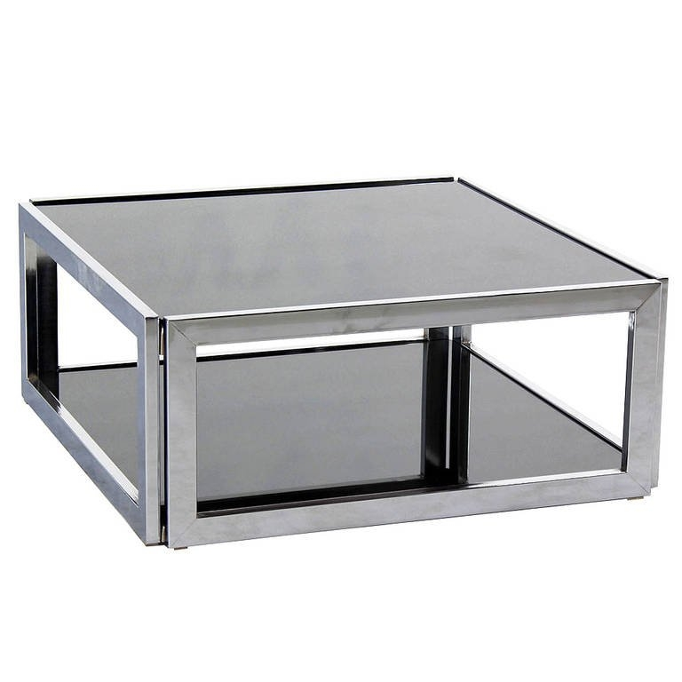 Awesome Elite Chrome And Glass Coffee Tables With Regard To Square Chrome And Smoked Glass Coffee Table Mid Century Modern (Image 3 of 50)