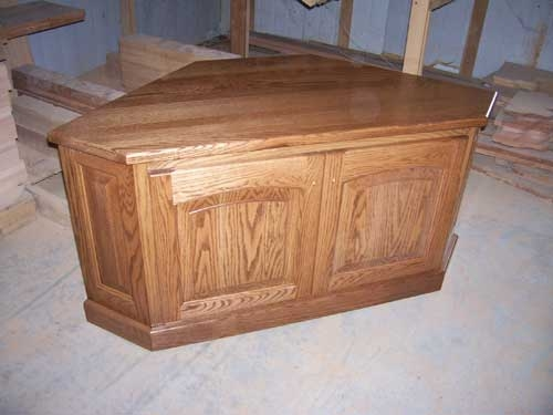 Awesome Elite Corner Oak TV Stands With Woodloft Locally Amish Custom Made Entertainment Centers (Image 6 of 50)