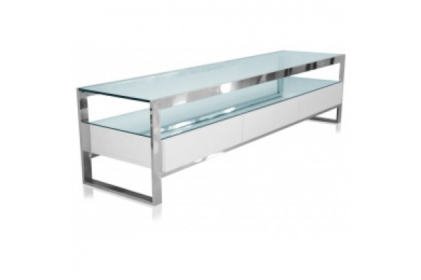 Awesome Elite Modern White TV Stands Within Beautiful White Strada Tv Stand With Glass Shelf Space (Image 7 of 50)