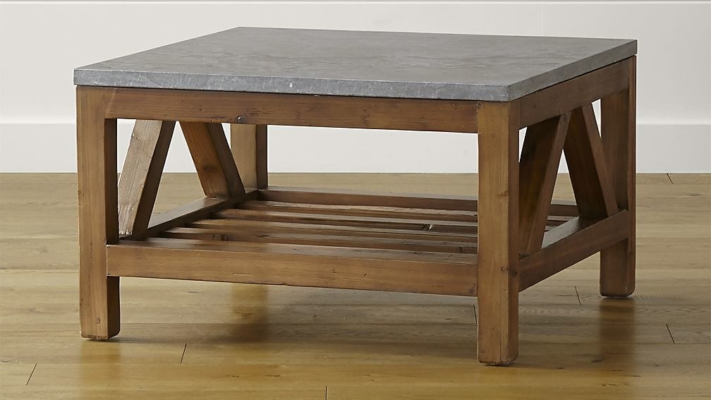 Awesome Elite Pine Coffee Tables With Storage Regarding Bluestone Square Coffee Table Crate And Barrel (Image 9 of 50)
