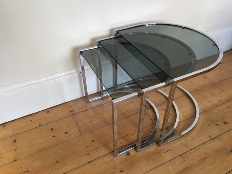 Awesome Elite Retro Smoked Glass Coffee Tables Regarding Retro Coffee Table Side Table Nest Of 3 Chrome And Smoked Glass (View 4 of 40)