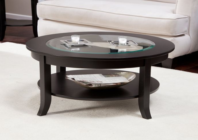 Awesome Elite Round Glass And Wood Coffee Tables Regarding Glass And Wood Coffee Tables (Image 2 of 50)