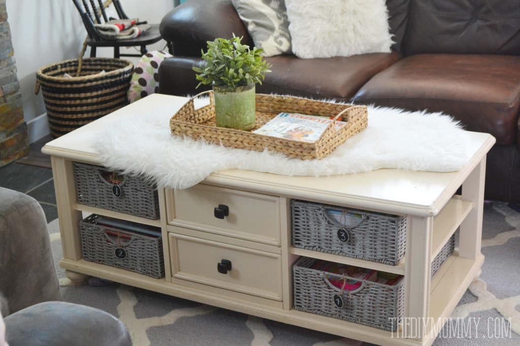 Awesome Elite White Coffee Tables With Baskets In How To Paint Wicker Baskets With Chalk Paint A Coffee Table (Image 10 of 40)