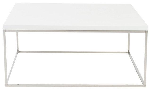 Awesome Elite White Square Coffee Table Throughout Metal Coffee Tables Houzz (Image 2 of 50)