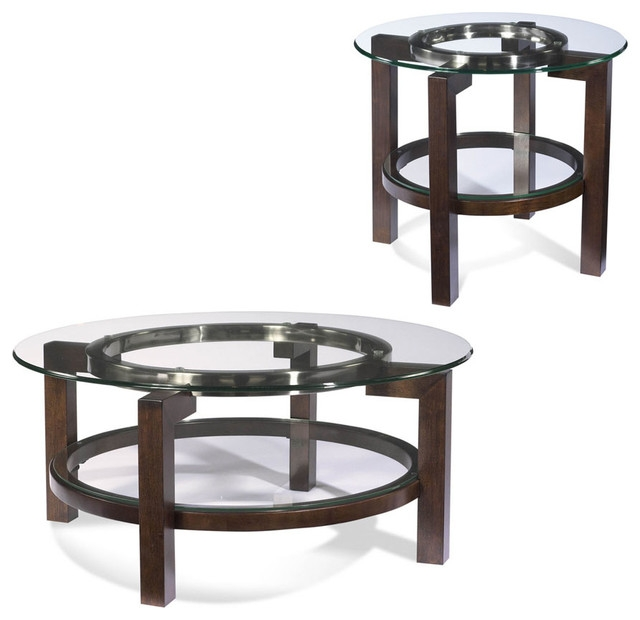 Awesome Famous 2 Piece Coffee Table Sets Throughout Bassett Mirror T1705 Oslo Round 2 Piece Glass Top Coffee Table Set (View 13 of 50)