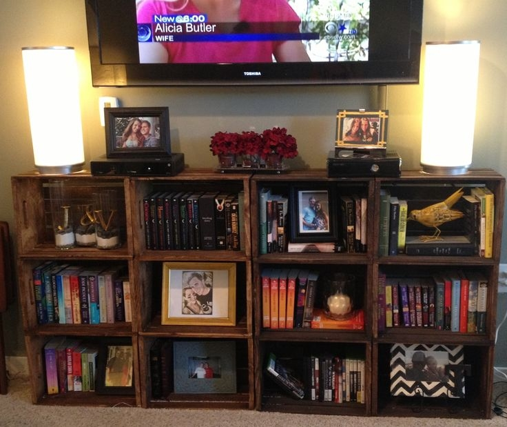 Awesome Famous Bookshelf TV Stands Combo With Regard To Best 25 Shelves Around Tv Ideas Only On Pinterest Media Wall (Image 5 of 50)