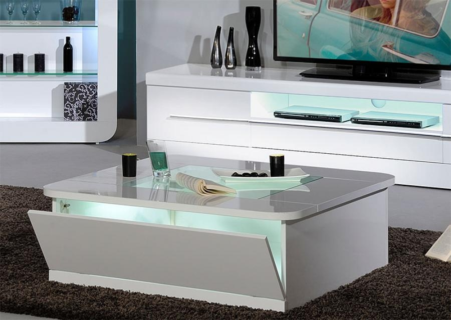 Awesome Famous Coffee Tables With Shelves For Gloss Square White Coffee Table With Shelves And Glass Top (Image 8 of 50)