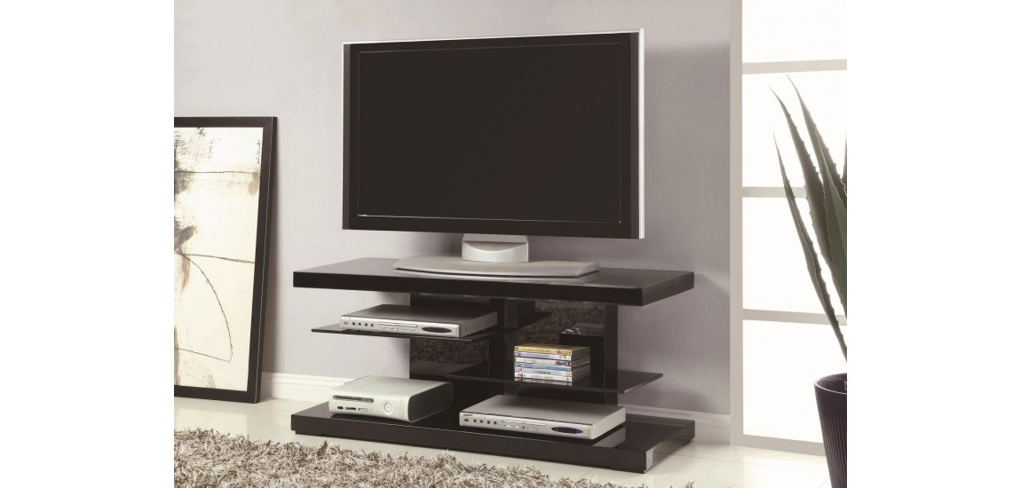 Awesome Famous Contemporary Black TV Stands Intended For 700840 Glass Shelves Black High Gloss Modern Tv Stand (View 38 of 50)