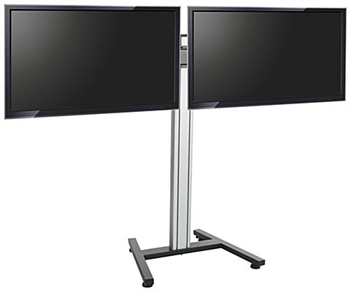 Awesome Famous Dual TV Stands Intended For Dual Screen Floor Stand Height Adjustable Mount (Image 7 of 50)