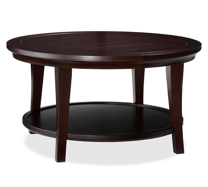 Awesome Famous Espresso Coffee Tables Throughout Metropolitan Round Coffee Table Pottery Barn (View 21 of 50)