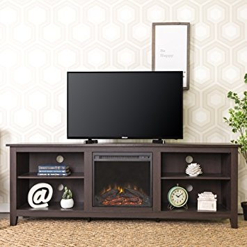 Awesome Famous Expresso TV Stands Throughout Amazon We Furniture 70 Wood Fireplace Tv Stand Console (View 16 of 50)