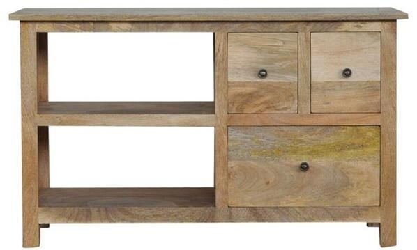 Awesome Famous Mango Wood TV Stands Throughout Mango Wood Tv Stand With 3 Drawers And 2 Shelves (Image 7 of 50)