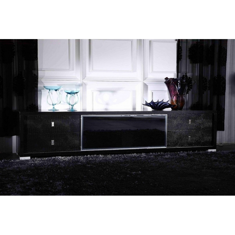 Awesome Famous Modern Black TV Stands Regarding Buy The Ax Leopold Modern Black Crocodile Tv Stand Vig Furniture (View 19 of 50)