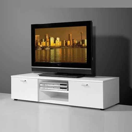Awesome Famous Modern Low TV Stands Intended For Low Plasma Tv Stand In White With 2 High Gloss Doors (View 7 of 50)