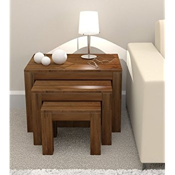 Awesome Famous Nest Coffee Tables Pertaining To Shiro Walnut Nest Of Three Coffee Tables Amazoncouk Kitchen Home (Image 3 of 50)