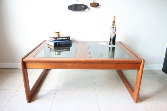 Awesome Famous Retro Teak Glass Coffee Tables Intended For Danish Teak Smoked Glass Coffee Table Komfort Made In (View 19 of 50)