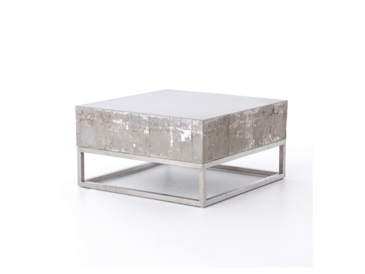 Awesome Famous White And Chrome Coffee Tables Within Concrete And Chrome Coffee Table Industrial Home (Image 5 of 50)