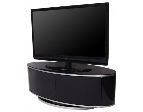 Awesome Fashionable Beam Through TV Stands With Regard To High Gloss Black Oval Tv Cabinet (Image 4 of 50)