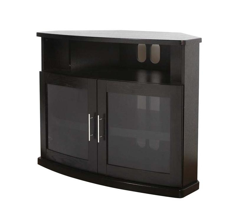 Awesome Fashionable Black Corner TV Cabinets With Glass Doors Throughout Plateau Newport Series Corner Wood Tv Cabinet With Glass Doors For (Image 3 of 50)