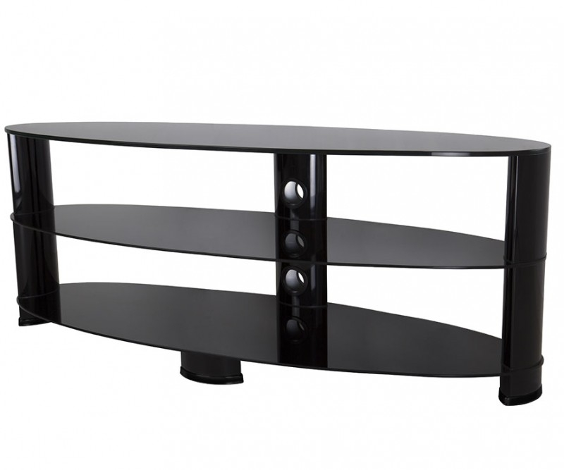Awesome Fashionable Black Oval TV Stands Within Ovl1400bb Reflections Oval Glass Tv Stand Tv Stands (Image 6 of 50)