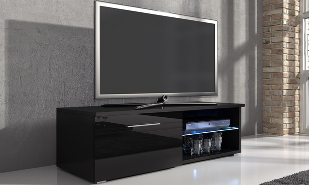 Awesome Fashionable Black TV Cabinets In Samuel Tv Cabinet With Led Groupon Goods (Image 3 of 50)
