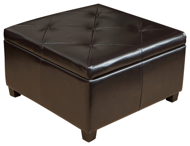 Awesome Fashionable Brown Leather Ottoman Coffee Tables With Storages Throughout Leather Ottoman Coffee Table Storage (Image 4 of 40)