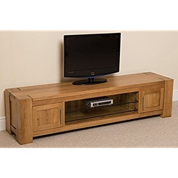 Awesome Fashionable Chunky TV Cabinets Inside Kuba Chunky Solid Oak Wood Glass Widescreen Tv Cabinet Unit (Image 3 of 50)